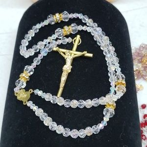 New Iridescent clear colored rosary
